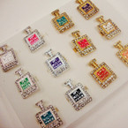 Perfume Bottle Fashion Ring w/ Crystal Stones .45  ea