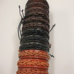 Teen Leather Bracelet Asst Color Braid Center (476) .54 ea