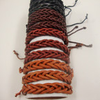 Trendy Teen Leather Bracelet Braided Style Browns & Black .54 ea
