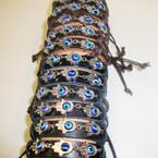 Teen Leather Bracelet Triple Hand of God & Eye Bead .54 ea