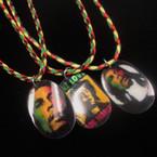 "16""-18"" Braided Rasta Color Cord Necklace w/ Oval Ceramic Pendant .56 ea"