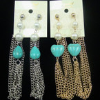 "3.5"" Gold & Silver Multi Chain Earring w/ Turq. Stone & Pearls .54 ea"