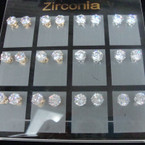 Gold & Silver Prong Set 8MM Cubic Zirconia Earrings 12 pair display ONLY .54 ea