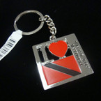 Metal I Love Trinidad Country Flag  Keychain .52 ea