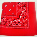 "All Red Bandana 100% Cotton 22"" Square .52 ea"