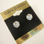 7MM Clear Stone Cubic Zirconia  Gold Prong Earrings .58 ea