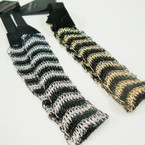 "1.25"" Popular Gold/Sil Headbands w/ Black Elastic Back .50 ea"