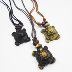 DBL Leather Cord Necklace w/ DBL Turtle Pendant .56 ea