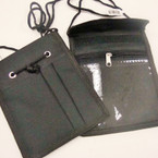 "5"" x 6""  Black Travel Pouch Zipper Necklace w/ Compartments .75ea"