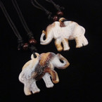 "DBL Leather Cord Necklace w/ 2"" Elephant Pendant .56 ea"