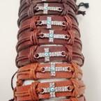 Teen Leather Bracelet w/ Crystal Stone Cross & Eye Bead .54 ea