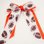 "Big 5"" X 7"" Cheerleader Gator Clip Bow Football Ribbon & All Orange Ribbon .54 ea"