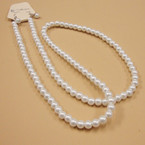 "30"" 7MM All White Glass Pearl Neck Set  .58 ea set"