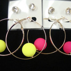 "2"" GOld Hoop Earring w/ Colored Ball Plus Crystal Studs .45 ea"