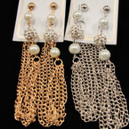 "3.5"" Gold & Silver Chain Earrings w/ Pearl & Fireball Bead .54 ea"