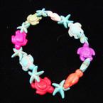 Turquoise Stone Turtle & Starfish Stretch Bracelet Multi Color  .54 ea