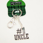 Silver Metal #1 Uncle Keychain w/ Black Epoxy 24 per pk $1.00 ea