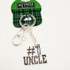 Silver Metal #1 Uncle Keychain w/ Black Epoxy 24 per pk .85 ea