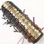 Teen Leather Bracelet Square  Gold Zodiac Signs .54 ea
