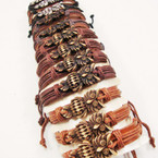 Mixed Color Teen Leather Bracelets w/ Owl of Wisdom .54 ea