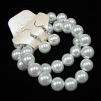 2 Pack 10MM White Glass Pearl Earring Set Only .54 per set