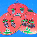Jingle Bell Christmas Earrings Santa,Leaf & Bell  .62 ea
