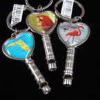 "2.75"" Scenic Metal Florida Keychain w/ Whistle .54 ea"