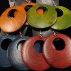 "2.5"" Donut Style Wood Earring Winter Colors .54 ea"