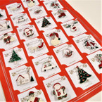 Silver Frame Colored Metal Christmas Broaches 24 per card ONLY .27 ea