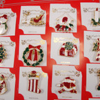Gold Frame Colored Metal Christmas Broaches 24 per card ONLY .27 ea