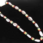 "Popular 18"" Cowrie Shell Necklace w/ Rasta Color Wood Beads .54 ea"