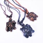 DBL Black Leather Cord Necklace w/ Turtle Pendant w/ 2 Baby Turtles .54 ea