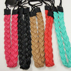 Popular Braided Leather Look Asst Color Headband w/ Elastic Band .52 ea