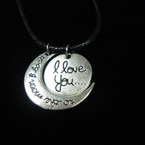 Leather Cord Necklace w/ I Love You Moon Theme  Pendants  . 65  ea