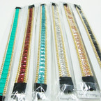 Fashionable Shiney Stone w/ Gold Chain Edge Headbands w/ Elastic Back .54 ea