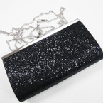 "3.5"" X 7"" Black Sequin Evening Bag w/ Long Silver Chain Strap sold by pc $ 2.25 ea"