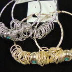 Big Gold & Silver Hoop Earrings w/ Bead & Rings .56 ea pr