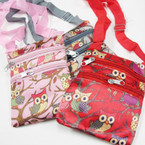 "4.5"" X 6"" 2 Zipper Side Bag w/ Lg. Strap Wise Owl Design  .58 ea"