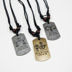 Leather Cord Necklaces w/ Gold/Silver Zodiac Dog Tag Pendants .54 ea