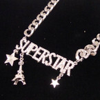 "16"" Heavy Silver Chain Necklace w/ Crystal Stone Superstar 12 per pk $.75"