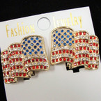 "1.25"" Cast Gold Wavy Crystal Stone USA Flag CLIP ON Earrings sold by pair. $1.00/pr"
