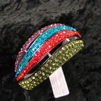 "1.75"" Wide Silver Hinged Bangle Loaded w/ 4-Color Crystals sold by pc $ 2.50 ea"