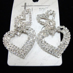 "Best Quality 2"" Elegant Silver Heart Rhinestone Fashion Earrings sold by pc $ 1.50 ea"