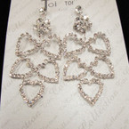 "2.75"" Silver Rhinestone Earring Flower & 5 Hearts sold by pc $ 1.50 pr pair"