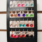 Gold & Silver Euro Wire Earring w/ Big Colored Stone & Crystals 12 pr display .54 ea pr