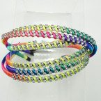 Popular Neon Color Cord Wrapped Headband w/ Clear Crystal Stones .54 ea