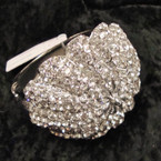 "2.5"" Umbrella Style Hinged Bracelet Covered in Clear Color Crystals sold by pc $2.50 ea"