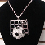 "20"" Silver Chain Necklace Set w/ Crystal Stone Soccer Ball sold by pc $ .75"