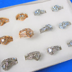 Gold & SIlver Crystal Stone Wedding Band Set (83) .56 per set