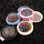 "2.5"" Round Pop Up Pocket Brush w/ Mirror Asst Colors .58 ea"
